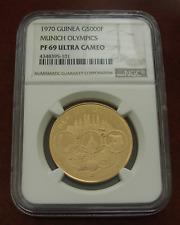 Guinea 1970 Gold 5000 Francs NGC PF-69UC Munich Olympics Mintage - 500