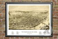 Old Map of St. Louis, MO from 1894 - Vintage Missouri Art, Historic Decor