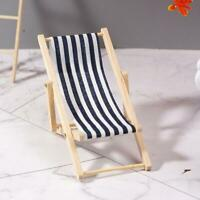 Mini Dollhouse Miniature Garden Beach Furniture Folding Deck  Chair Blue Stripe