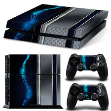PS4 Playstation 4 Console Skin Decal Sticker Blue Silver Metal Custom Design Set