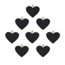 24 Rustic Black Heart Wooden Memo Note Message Board Pegs Chalkboard Blackboard
