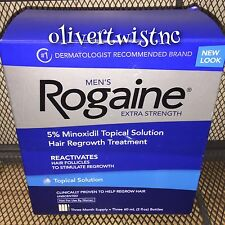 NEW Men's Rogaine Topical Solution 3 Month Supply 2 oz Bottles +Dropper JAN2021