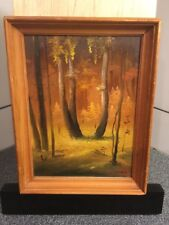 Russian Artist Gender Oil Painting On Board Forest 10x7 Картина русского автора