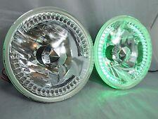 "97-16 Jeep Wrangler TJ JK 7"" LED Halo Green Round Chrome Clear Headlights"