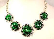 Collier Halskette Kette Grün Malachit stein Länge 45 cm silberfarben