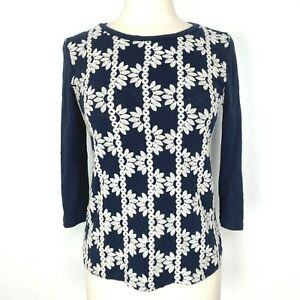 J Crew Factory Womens Floral Embroidered Front Top Small Navy Blue White Shirt