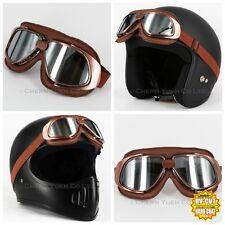 Vintage Style Aviator Pilot Motor Motorcycle Goggles Helmet Chrome Glasses CE