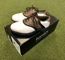 New FootJoy Junior Golf Shoes Size 2M Brown/Black/White