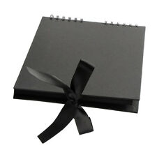 A4 40 Pages Ribbon Bow Kraft Paper Scrapbook Photo Album for Wedding Black