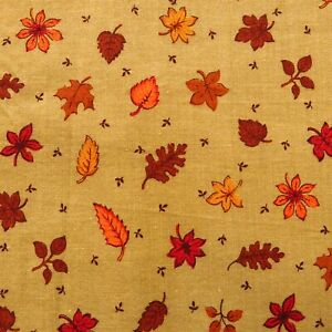 1.1 Yards Vintage Fall Leaves Fabric Brown Cotton FLAW