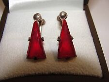 Fine Antique Georgian Sterling Silver Ruby Paste Drop Screw Earrings