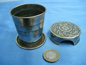 1897 PATENT COLLAPSIBLE TRAVELLERS' PLATED BRASS  DRINKING CUP