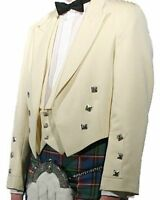 "White Prince Charlie Kilt Jacket With Waistcoat sizes 36"" to 54"""