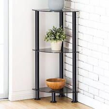 Fitueyes 3-Tier Corner Shelf Bookcase Black Tempered Glass Display Rack Mpdern
