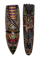 Zeckos Set of 2 Hand Carved Dot Painted Asmat Wooden Mask Wall Hangings