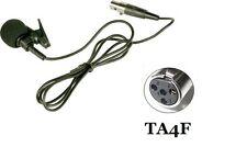Lapel Lavalier Collar mic Microphone ta4f  4 Pins xlr For shure Wireless System