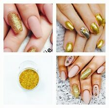 Gold Glitter Acrylic Powder Nail Extension Builder Fake False Nails Sparkly DIY