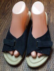 Fly Flot Leather Slide Sandals Women's 8.5 Blue Slip On Open Toe Low Wedge Italy