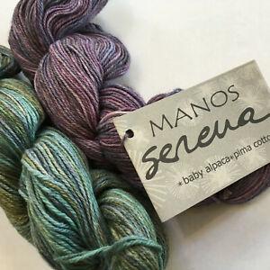 Knitting Yarn ~ MANOS Serena ~ baby alpaca & pima cotton 50g skeins hand dyed