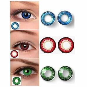 3 Pair Zero Power Monthly Color Contact Lenses Blue Red Green Free Lens Case