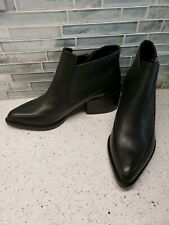 New Design Lab Black Leather Ankle Boots Block Heel Womens Sz 7.5 European Flair