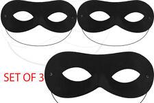 3X Negro Zorro Domino máscara ladrón Bandido Halloween Máscara de Semana Libro de Super héroe