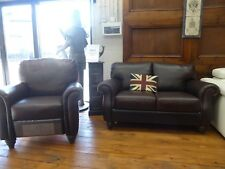 Natuzzi Beautiful full Aniline Brown Leather 3 Seater & push back recliner chair