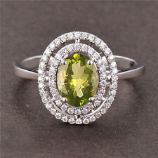 Oval Cut 1.80Ct Natural Brazilian Peridot Solitaire Ring In 925 Sterling Silver
