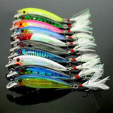 Lot 10Pcs Fishing Lure Crankbaits Hooks Metal Spinner Minnow Baits Tackle Crank