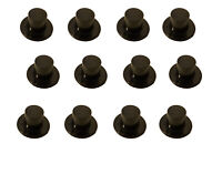 "Pack of 12 VTG Darice Miniature 1"" Black Plastic Top Hats for Crafts or Dolls"