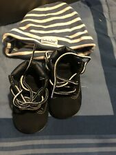 Timberland navy Crib Booties Size 0 Gift Set W/ Hat