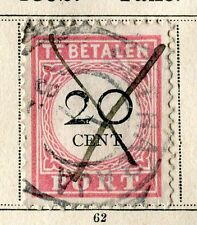 NETHERLANDS INDIES;  1892 early classic Postage Due issue fine used 20c. value