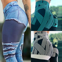 Women Yoga Pants Leggings Fitness Stretch Floral Push Up Workout Sports Trousers