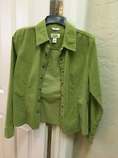 TALBOTS Long Sleeve Green Cotton/Spandex LightWeight Jacket Size S Stud fastens