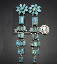 "New 6"" Long FEDERICO JIMENEZ Sterling Silver TURQUOISE Cluster EARRINGS Clip-On"