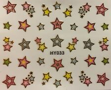 Nail Art 3D Decal Stickers Pink, Blue & Yellow Stars with Gold Outlines HY033