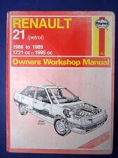 Haynes Owners Workshop Manual Renault 21 petrol 1986 to 1989 (1712)