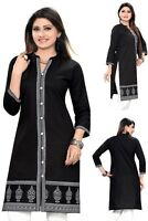 130+ Kurtis Sold - Black Indian Designer Cotton Kurti Tunic Top Dress Women 386