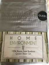 Home Environment 100% Silky Bamboo 4PC Sheet Set Queen Silver Pearl Stitch Hem