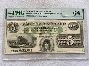 1860s Bank of New England in Connecticut, $5 Five Dollars PMG Certified