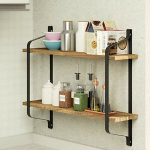 2 Tier Floating Shelves Wall Shelf for Pantry Kitchen Bathroom Office Exhibition