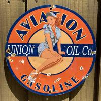 """VINTAGE UNION OIL CO. AVIATION GASOLINE PORCELAIN SIGN USA GAS PUMP PLATE 12"""""""