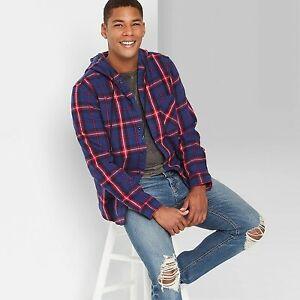 Men's Plaid Hooded Flannel Long Sleeve Button-Down Shirt - Original Use Xavier