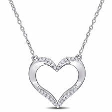 Amour Sterling Silver Diamond Open Heart Necklace
