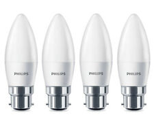 4 x Philips LED Candle Light Bulbs Frosted B22 Bayonet 40w Warm White Lamp 470lm