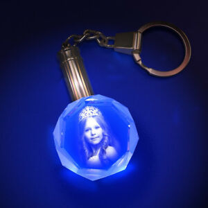 Personalized Photo Engraved Round Crystal Key Chain with LED Light (Unique Gift)