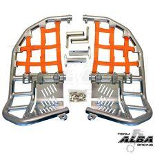 Yamaha Raptor 660  Nerf Bars  Pro Peg Heel Gaurds  Alba Racing  Silver Orange SO