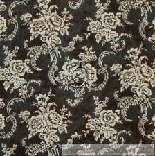 BonEful Fabric FQ Cotton Quilt Black Brown Rose*Bud Flower Damask Toile Ribbon S