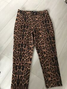 missguided Brown Tan Leopard Print Textured Cropped Trousers Size 16 New