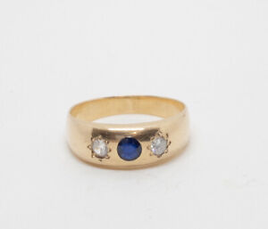 Antique Austrian Diamond & Sapphire Men's Ring 14k Yellow gold Size 10